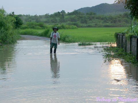 Regenzeit in Thailand - Überschwemmung Mann watet durch Wasser