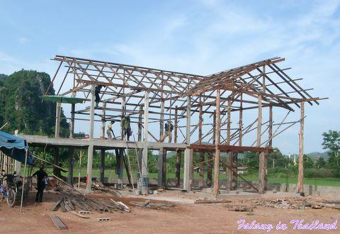 Thailändisches Wohnhaus im Bau - Grundgerüst
