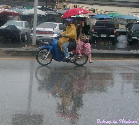 Auf dem Motorbike mit Schirm und Handy in Thailand